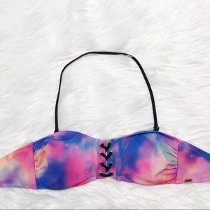 PINK Bandeau Tie Dye Pink and Blue Bikini Top